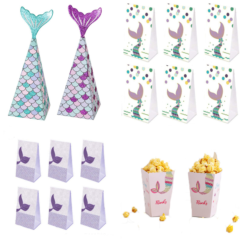 Mermaid Tail Candy Box Paper Candy Bags Popcorn Boxes Mermaid Theme Party Decorations Kids Birthday Baby Shower Party Supplies