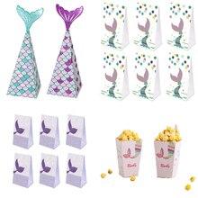 Boîte à bonbons en forme de queue de sirène, sacs à bonbons en papier, boîtes à Popcorn, décorations de fête à thème de sirène, fournitures de fête d'anniversaire pour enfants, réception-cadeau pour bébé