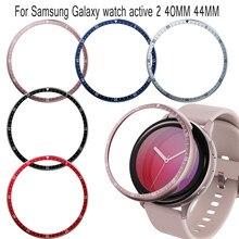 Liga de alumínio relógio moldura capa para samsung galaxy assista ativo 2 40mm 44mm anti risco anel metal relógio inteligente acessório