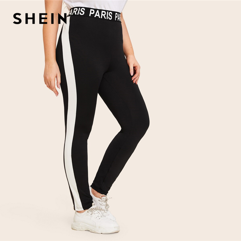 SHEIN Plus Size Black Lettering Tape Waistband Side Striped Leggings Women Casual Summer Autumn Basics Plus Slim Fit Leggings