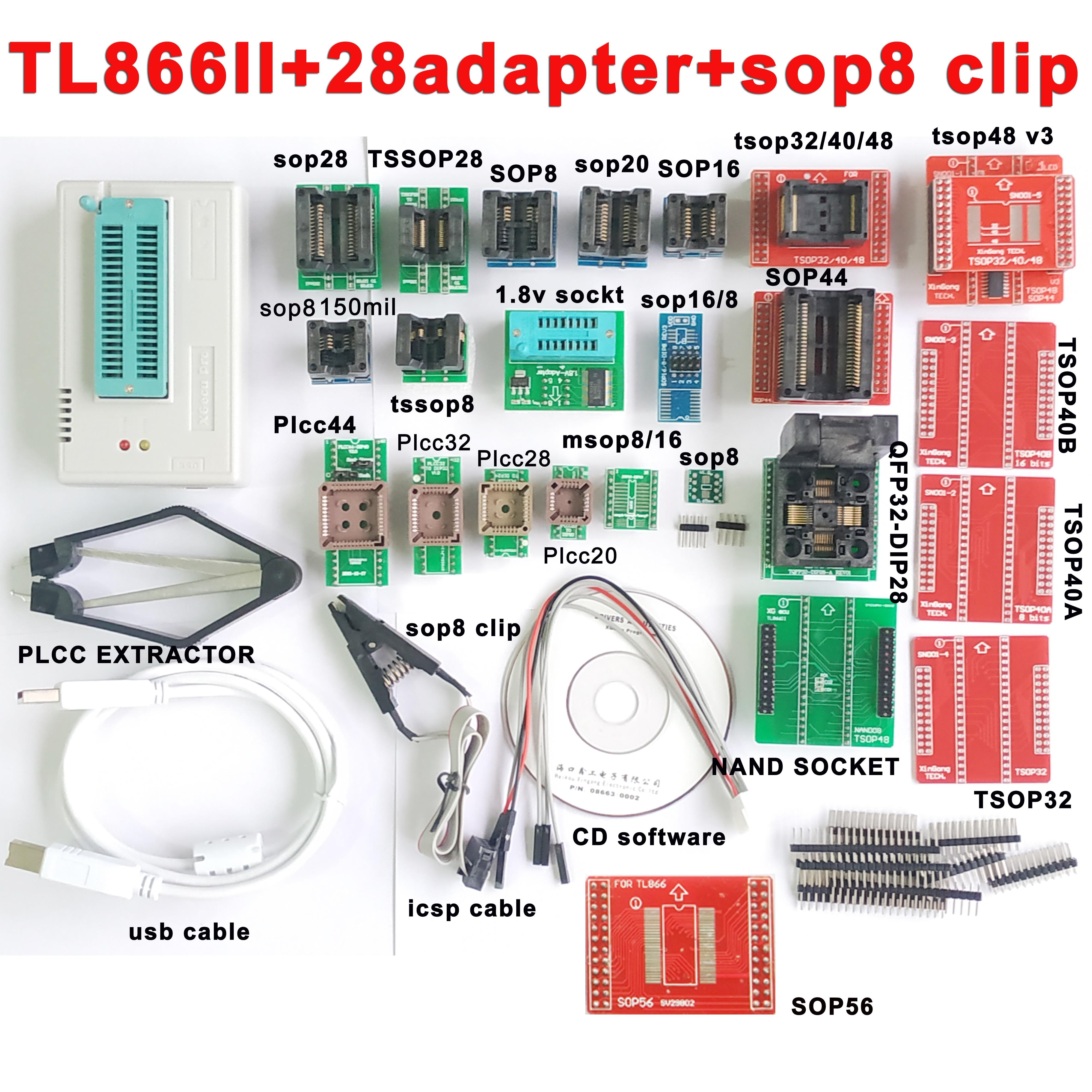 TL866II Plus Minipro Programmer 28 Adapter Socket SOP8 Clip TL866 Nand Flash 24 93 25 Mcu Bios EPROM AVR IC Chip Programmer