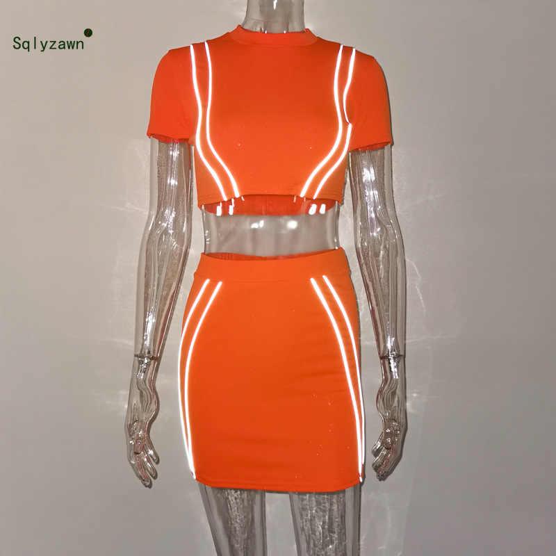 ネオンオレンジグリーン反射ストライプ 2 個セット夏半袖シャツクロップトップミニスカートマッチングトラックスーツの衣装