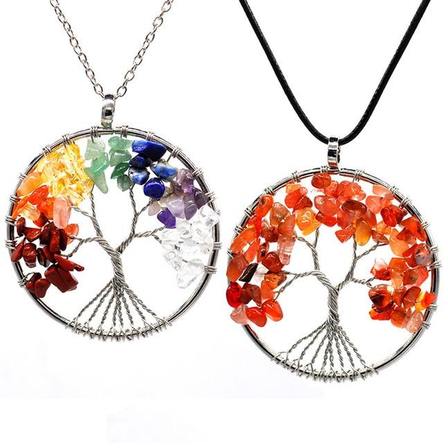 7 Chakra Quartz Natural Stone Tree of Life pendulum Pendant Necklace for Women  Healing Crystal Necklaces Pendants Reiki Jewelry