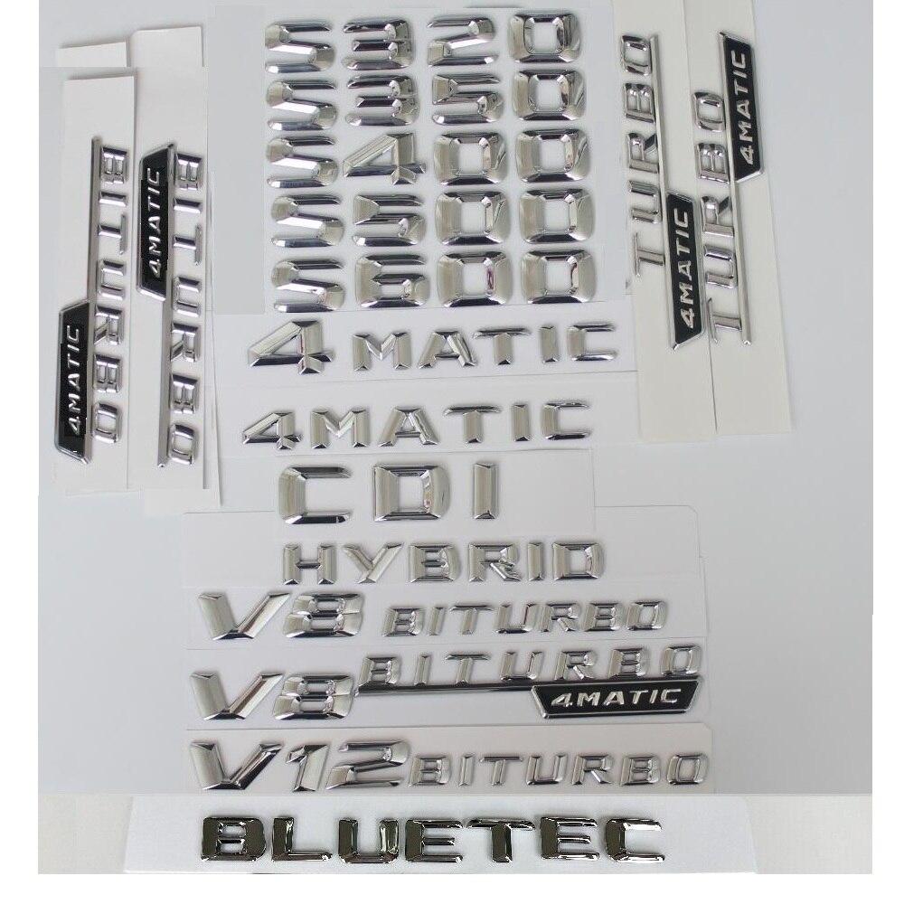 3d cromo letras de prata para mercedes benz w221 w222 s320 s350 s400 s450 s500 s550