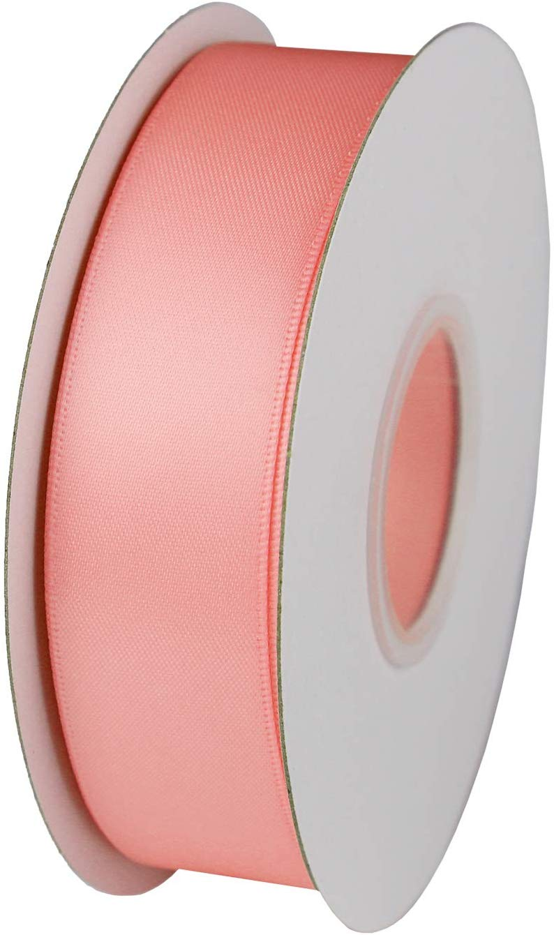 25m Reels of Satin Ribbon Ornaments Trim for Festival Supplies Rose red