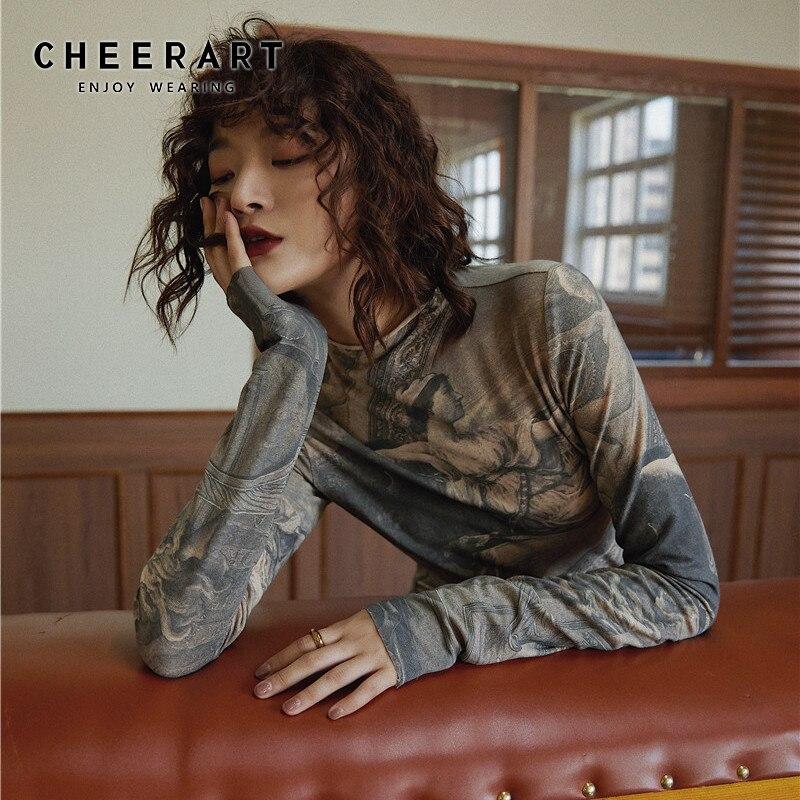 CHEERART Renaissance Print Vintage Top Turtleneck Long Sleeve Blouse Women Spandex Bodycon Blouse Ladies Tops Clothes