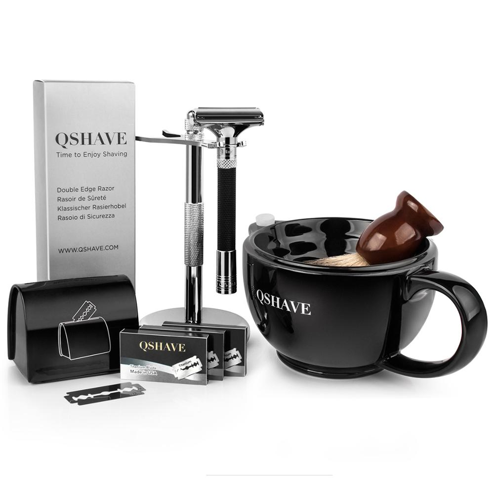 QSHAVE Luxurious Parthenon V2.0 Razor Kit Men's Shaving Kit Holder + Razor + Blade Disposal Case +15 Blades Set + Bowl + Brush