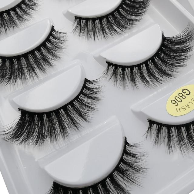5 Pairs Multipack 3D Mink Lashes False Eyelashes Handmade Wispy Fluffy Long Lashes Natural Eye Makeup Tools Eye Lashes G806 2