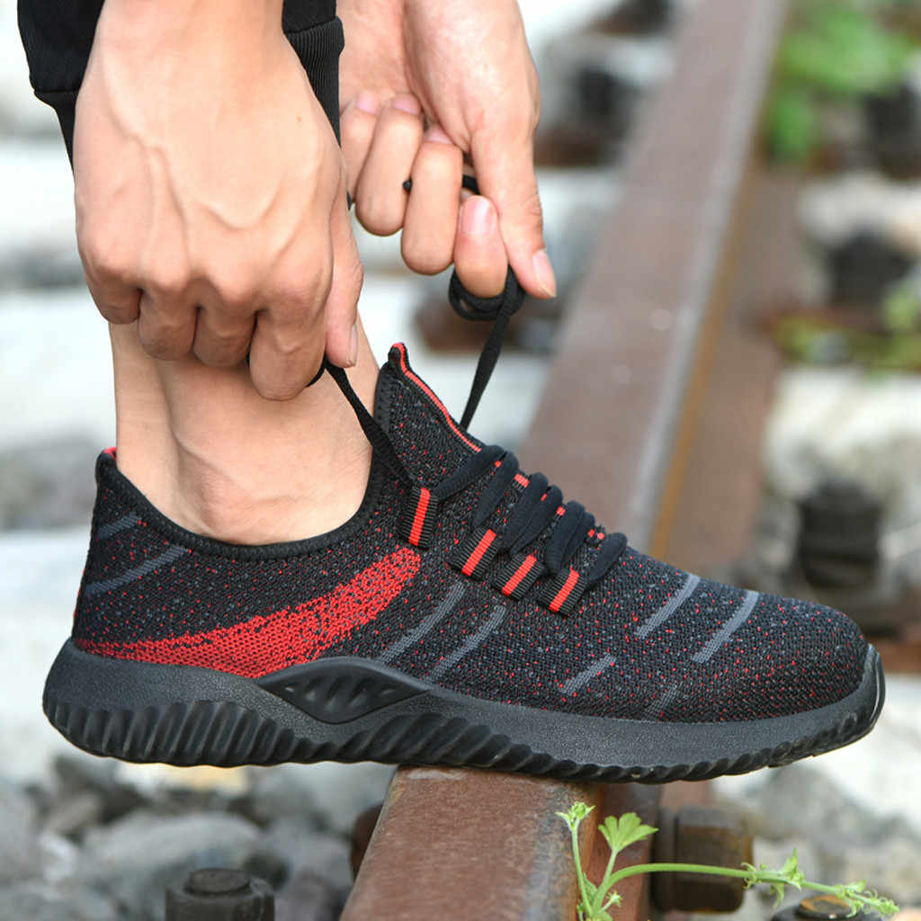 Running Shoes Men Big Size Steel Toe Cap Breathable Walking Shoes Puncture-Proof Work Lightweight Sneakers Safety Work Shoes