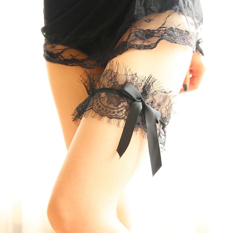 Wedding Garter Black Lace Satin Strap Floral Sexy Garters For Women/Female/Bride Thigh Ring Bridal Leg Garter
