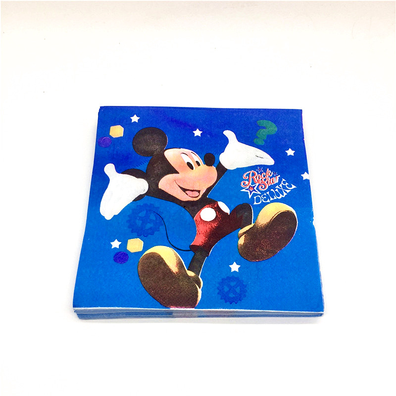 20Pcs/lot Mickey Mouse Birthday Napkins Paper Towel Party Decor Birthday Party Tableware Supplies Children Love Baby Kids Like