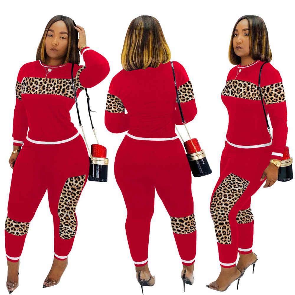 2020 Luipaard Camouflage Twee Stukken Set Vrouwen Sport Pak Lange Mouw Sweatshirt En Joggingbroek Casual Trainingspak Joggen Femme