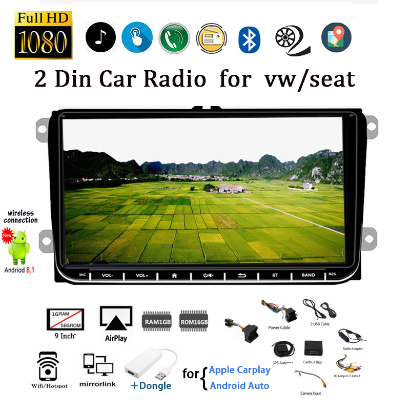2 Din Android 9'' Car Radio for VW/Seat+Carplay For Skoda Passat B6 Polo Golf Tape Recorder Wifi GPS Airplay CANBUS with Camera image