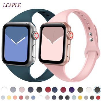 Strap for apple watch band 44 mm 40mm Silm silicone watchband bracelet for apple watch series 5 4 3 44 for iWatch band 42mm 38m fashion handmade elastic stretch faux pearl natural stone bracelet replacement iwatch strap women girls for apple watch band 38m