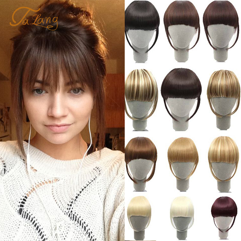 TALANG Neat Front Fringe Clip In Human Hair Bangs Remy Hair Extensions Sweeping Side Blunt Bang Natural Black Brown Hairpieces