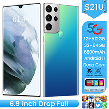 Global Version S21U 6.9Inch Smartphone 6800mAh Deca Core 16+512G Dual SIM Fingerprint Unlock Multi Function 5G Network CellPhone
