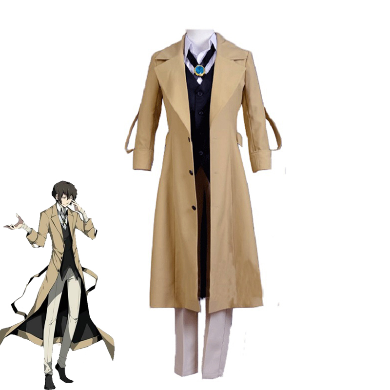 Anime Bungo chiens errants Dazai Osamu Cosplay Costume homme femme Halloween christmasuniformes Trench chemise gilet pantalon ensembles complets