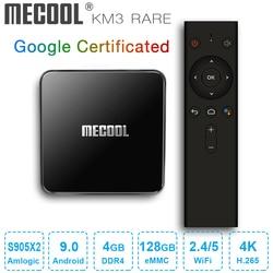 MECOOL KM3 ATV rzadkie smart tv box Google certyfikat Android 9.0 tv  pudełko 4GB DDR4 128GB procesor Amlogic S905X2 2.4G 5G Dual Wifi BT4.0 i8