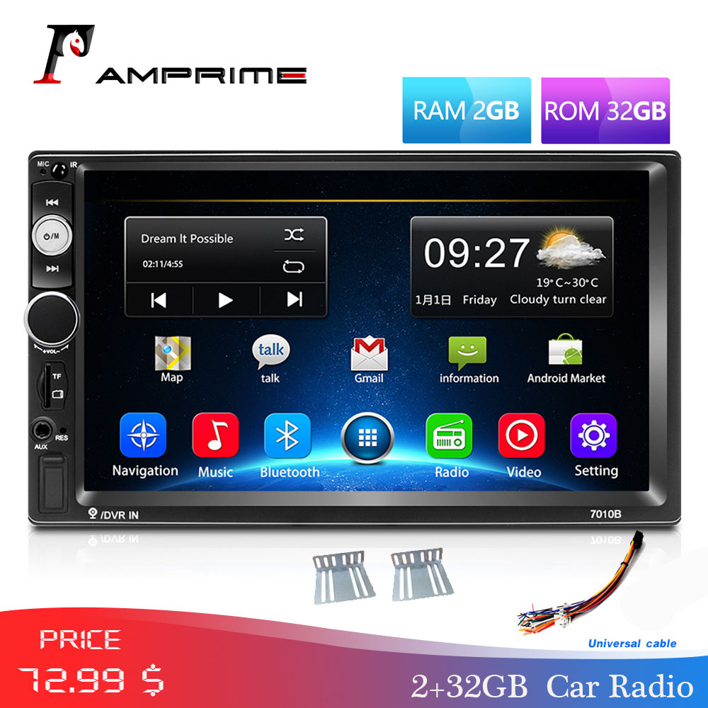 AMPrime2 Din Car Multimedia Player Android 2din <font><b>GPS</b></font> Navigation 7'' Touch Screen Autoradio Wifi Bluetooth MP5 Video Stereo Radio image