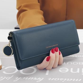 aliwood New Fashion Women Wallets Brand Letter Long Tri-fold Wallet Purse Fresh Leather Female Clutch Card Holder Cartera Mujer 9