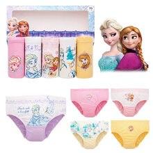 Calcinha de algodão para meninas, 5 pçs/lote calcinhas para bebê meninas princesa anna elsa cuecas infantis roupas adolescentes underwears