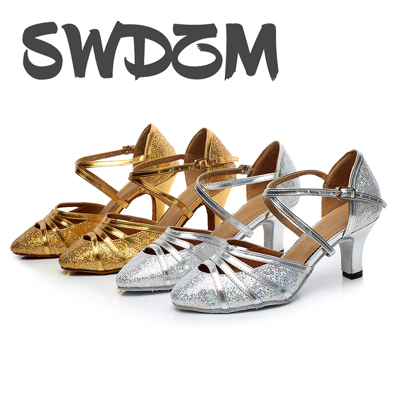 SWDZM Womens Sequined Latin Dance Shoes//Ballroom Party Salsa Dance Shoes Model-DY225