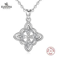 Eudora Sterling Silver Good Luck Irish Celtic Knot Pendant necklace with gift box fashion women Jewelry charm CYD200