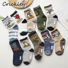 10 Pair/lot Cartoon Dinosaur Pattern Boys Socks Fashion Cotton Kids Sock For Children Spring Autumn Toddler Socks 3-10 Years