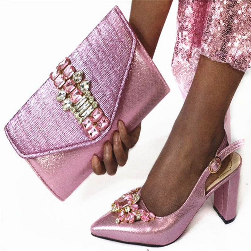 New Arrival Pink Color Square Heels Shoes And Bag Set For Wedding Party Hot Sale Elegant Shoes And Bag Set Large Size 38-43