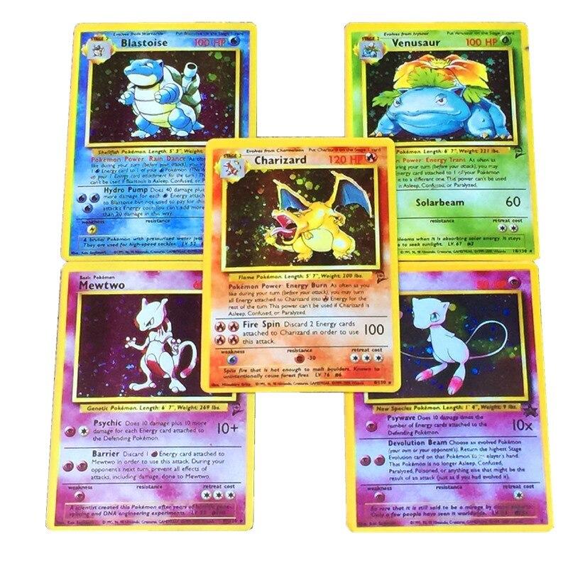 TOMY 5pcs/LOT Pokemon Cards 1996 Edition Charizard Blastoise Venusaur Mewtwo MEGA Flash   Game Collection