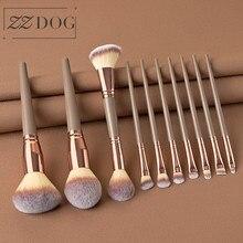 ZZDOG 10Pcs Professional Powder Eye Shadow Foundation Blending Blusher Makeup Brushes Set Natural Hair Cosmetic Beauty Tools Kit