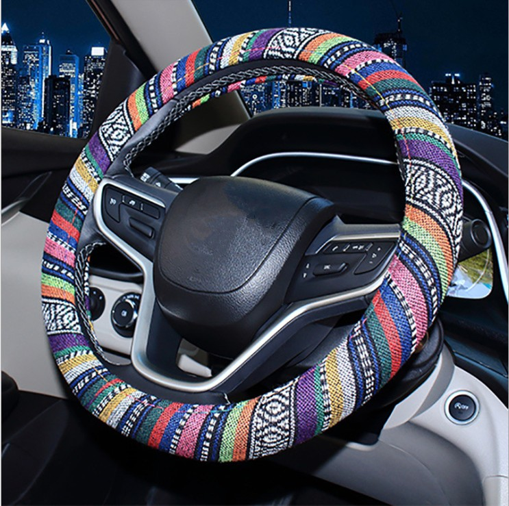 Anti-Slip Odorless Steering Wheel Cover Leather,Universal 15 Inch //38cm Fit Car Steering Wheel Cover