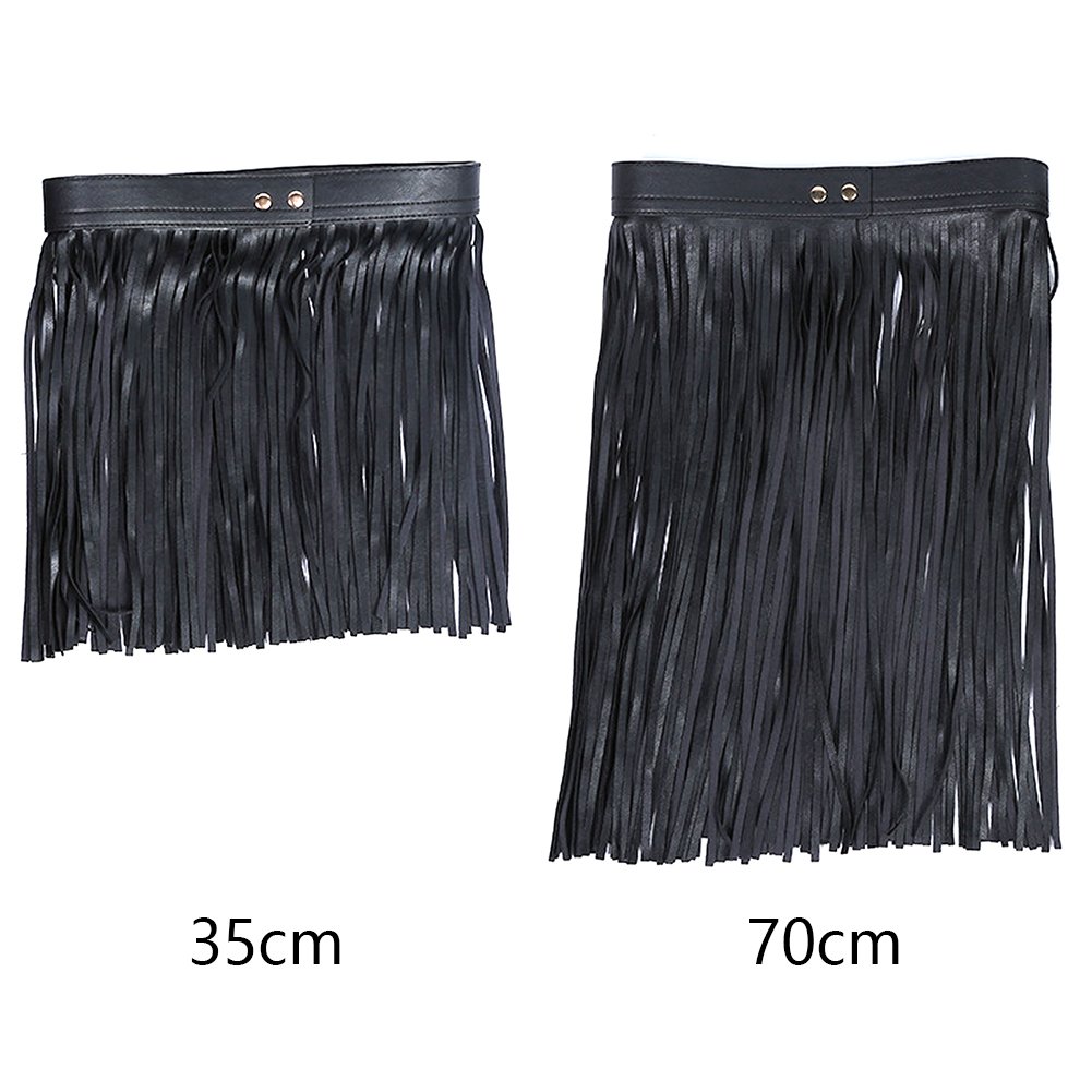 Women Fringe Long Waist Belt Tassel Adjustable Artificial PU Cool Wide Skirt All Matching Sexy Buckle