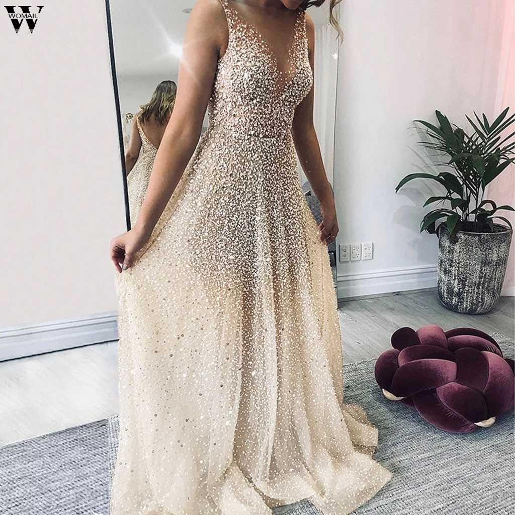 V boyun kolsuz payetli parti elbiseler kadınlar seksi mesh streetwear midi elbise kadın 2019 sonbahar bej elbise vestido 9.10