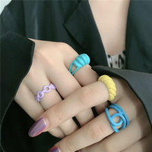 Korean Fashion Geometric Chain Hand-painted Open Ring for Women New Trendy Solid Color Twisted Croissant Rings Party Jewelry