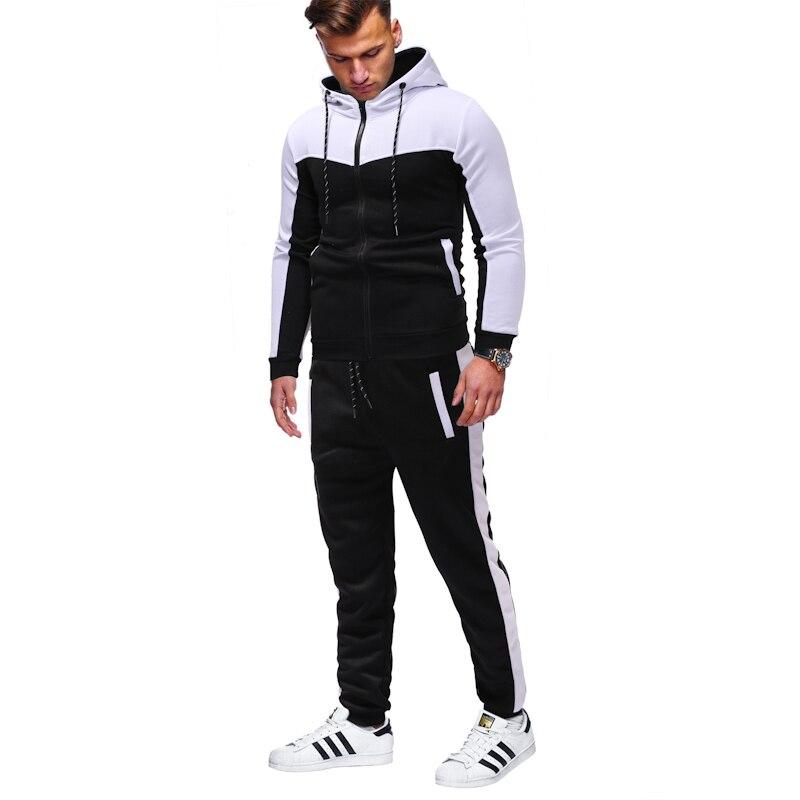 Sports Suit Men's Classic Camouflage Stitching Men's Casual Slim Hoodies Sling Zipper  Jacket + Trousers Large Size S-XXXL Suit