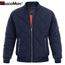 Magcomsen冬厚いボンバージャケット男性パイロットコートカジュアルバーシティジャケットファッション野球入り陸軍軍用ジャケット
