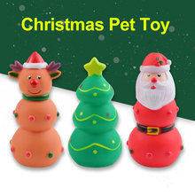 Pet Toys Rubber Non-toxi Dog Squeaky Chew Toy Christmas Tree Santa Claus Elk For Dogs Interactive Play Training Toy Pet Supplies