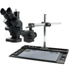 7X 45X רציף זום Simul מוקד סטריאו Trinocular מיקרוסקופ + 144 LED טבעת אור + משולב אלומיניום סגסוגת Stand מחצלת