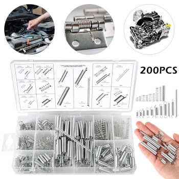 200PCS Spring Tension Spring Compression Set Extension Tension Springs Pressure Suit Hardware Tool with Plastic Storage Box