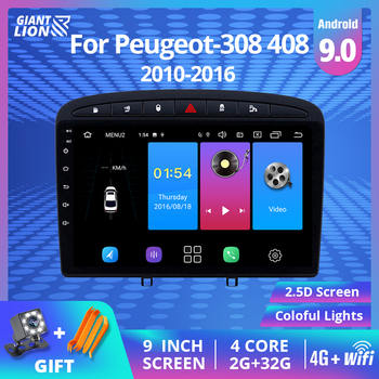2DIN Android 9.0 Car Radio For Peugeot-308 408 2010-2016 Car Multimedia Player Head Unit Stereo Navigation Autoradio DVD Player image