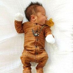 От 0 до 6 месяцев, для новорожденных девочек, коричневые, черные, с поясом, для маленьких мальчиков, однобортный комбинезон с длинными рукавам...