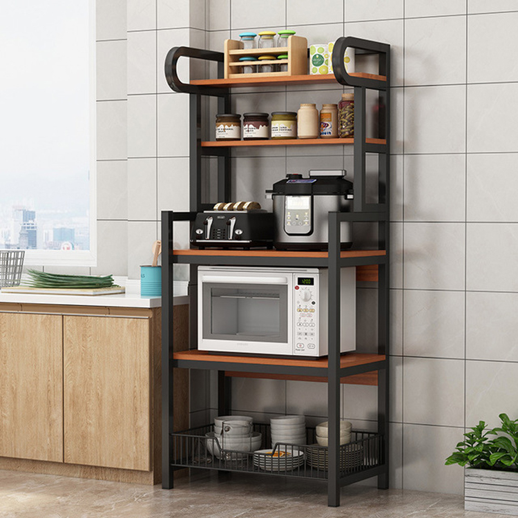 Floor Stand 5 Layer kitchen Microwave Oven Cabinet Shelf with Vegetable Basket Seasoning Pot Dishes Storage Rack