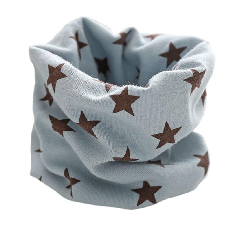 Новинка; Модный хлопковый шарф для маленьких девочек; осенне-зимний шарф для маленьких мальчиков; Детский шарф с круглым вырезом; Детские шарфы; волшебный шейный платок - Цвет: blue grey star