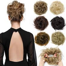 Hair-Extensions Buns Ponytail Scrunchies-Wrap Messy Synthetic Chignon Donut Curly Elastic