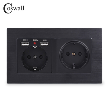 COSWALL Brand 2 Gang Russia Spain EU Standard Wall Socket With USB Charge Port Hidden Soft LED Indicator Aluminum Metal Frame - discount item  32% OFF Electrical Equipment & Supplies