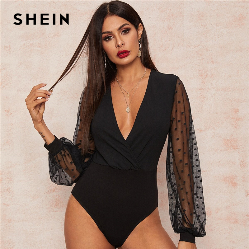 SHEIN Sexy Black Plunging Neck Dobby Mesh Lantern Sleeve Wrap Bodysuit Women Spring Summer Solid Sheer High Waist Bodysuits