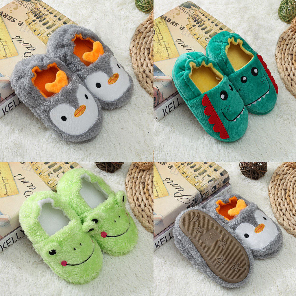 Baby Girls Shoes Toddler Infant Kids Baby Warm Shoes Boys Casual Cartoon Soft-Soled Slippers Children Flock Soft Sandals Slipper