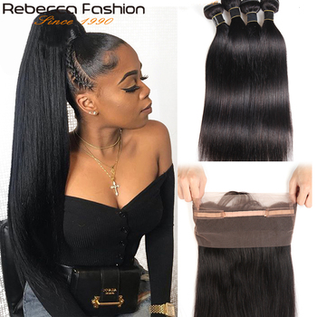 Rebecca 360 Lace Frontal with Bundles Peruvian Straight Human Hair Bundles with Closure Non-Remy Hair Weave 3/4 pcs a Lot image