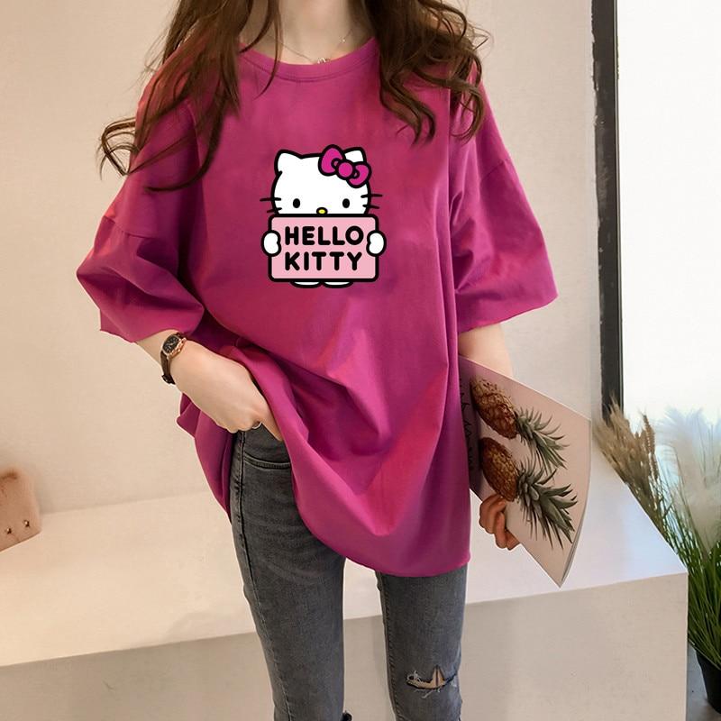 Y3073 Hello Kitty Print T Shirt Eleven Women Casual Top Tee Shirts Tshirt T-shirt Female Femme Clothing Harajuku Top